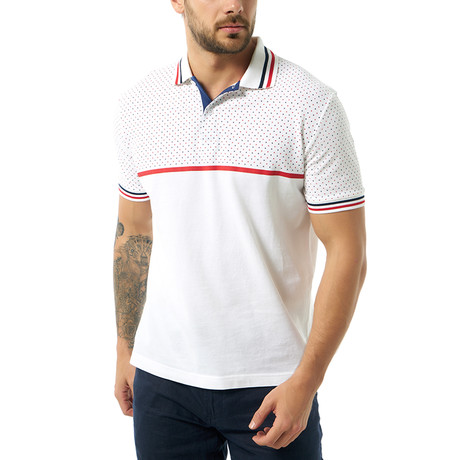 Dual Pattern Short Sleeve Polo // White (S)