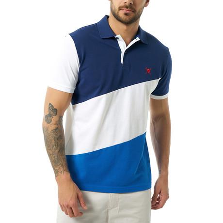 Diagonal Color Block Short Sleeve Polo // Navy (S)