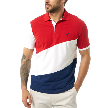 Diagonal Color Block Short Sleeve Polo // Red (S)