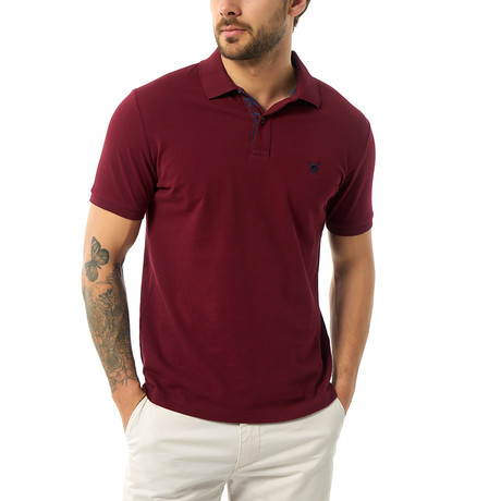 Solid Short Sleeve Polo // Bordeaux (S)