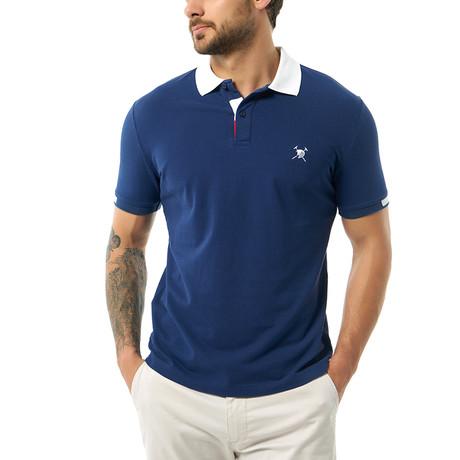 Contrast Collar Short Sleeve Polo // Navy (S)