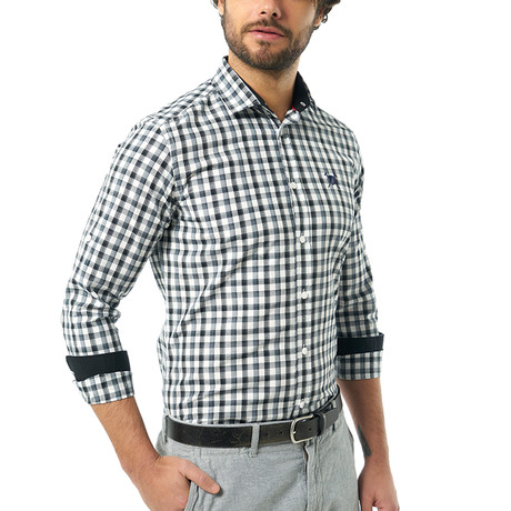 Grid Pattern Button-Up Shirt // Black + Blue + White (S)