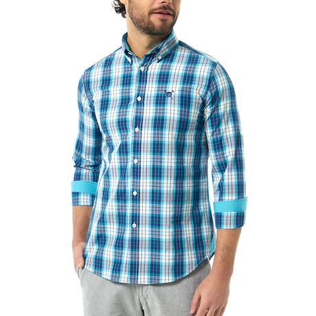 Plaid Pattern Button-Up Shirt // Turquoise + White (S)