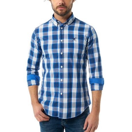 Plaid Pattern Button-Up Shirt Shirt // Sax + White (S)