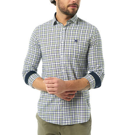 Plaid Button-Up Shirt // Green + Navy (S)