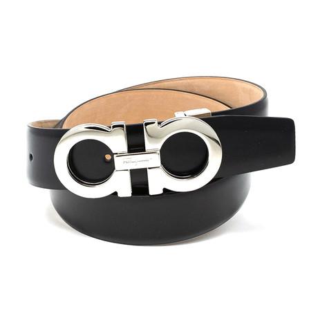 Salvatore Ferragamo // Solid Buckle Leather Belt // Black (85)