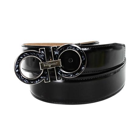 Salvatore Ferragamo // Detail Buckle Leather Belt // Black (85)