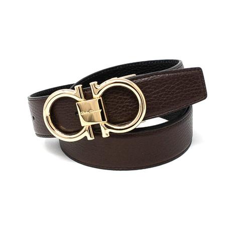 Salvatore Ferragamo // Golden Buckle Leather Belt // Black + Brown (85)