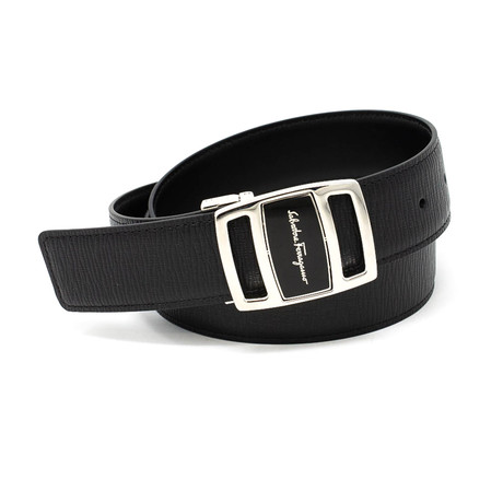 Salvatore Ferragamo // Script Buckle Leather Belt // Black (85)
