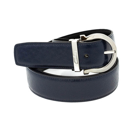 Salvatore Ferragamo // Rounded Buckle Leather Belt // Blue (85)