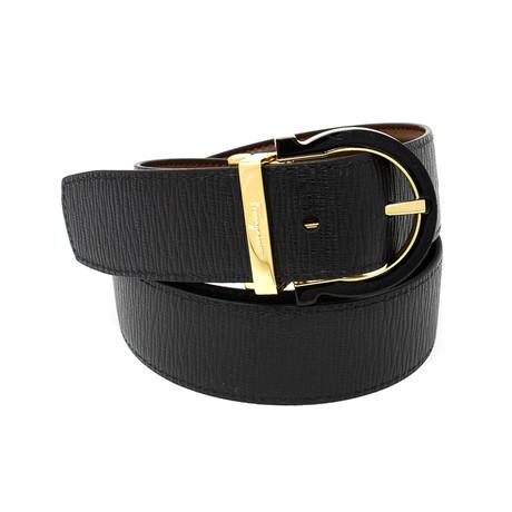 Salvatore Ferragamo // Reversible Rounded Buckle Textured Leather Belt // Brown + Black (85)