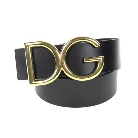 Dolce & Gabbana // Gold DG Leather Belt // Black (85)