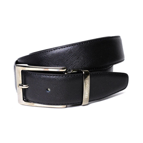 Roberto Cavalli // Textured Leather Belt // Black (85)