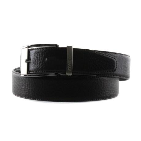 Roberto Cavalli // Rectangle Buckle Leather Grain Belt // Black (85)