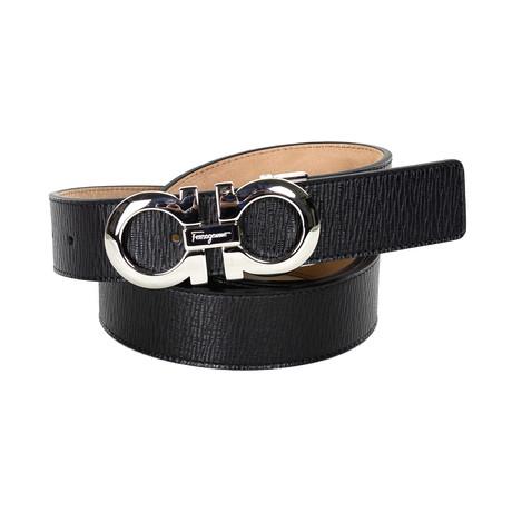 Salvatore Ferragamo // Textured Leather Belt // Black (85)
