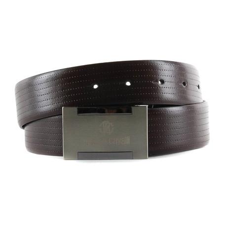 Roberto Cavalli // Plate Buckle Leather Belt // Black (85)