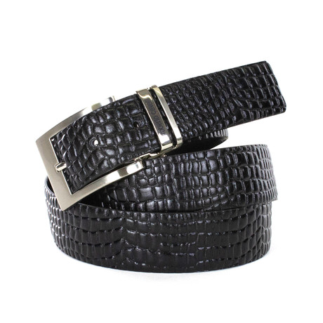 Roberto Cavalli // Deep Texture Leather Belt // Black (85)