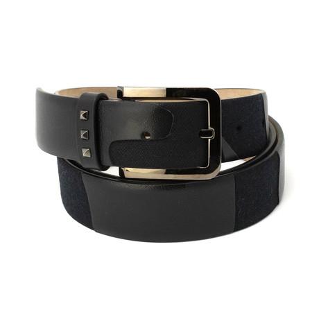 Valentino // Studded Loop Smooth Leather Belt // Black (85)