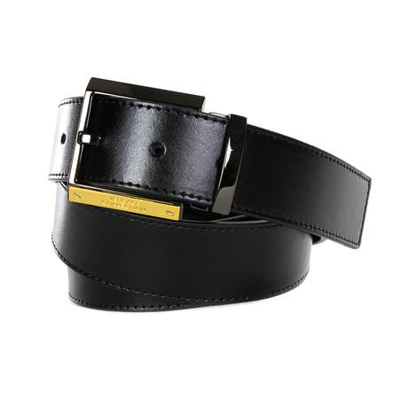 Versace Collection // Golden Detail Leather Belt // Black (85)