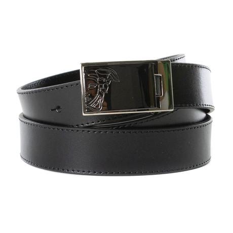 Versace Collection // Medusa Leather Belt // Black (85)