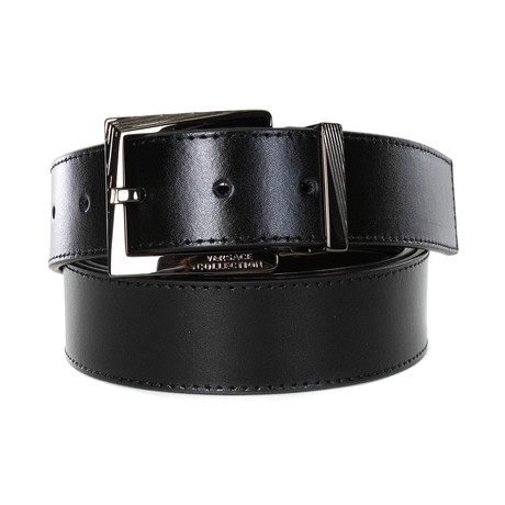 Versace Collection // Engraved Buckle Leather Belt // Black (85)