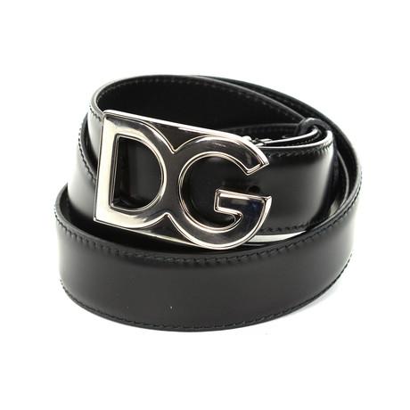 Dolce & Gabbana // DG Leather Belt // Black (85)