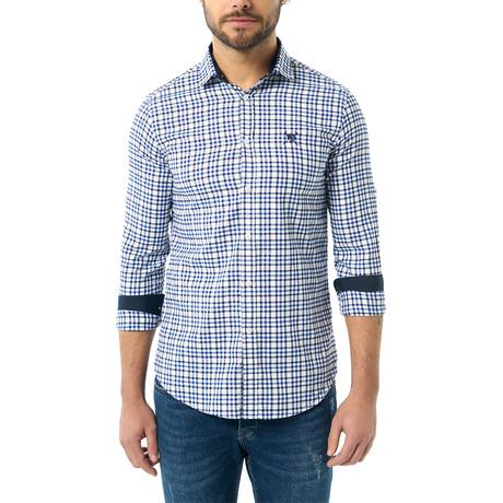 Plaid Button-Up Shirt // Sax + White (S)