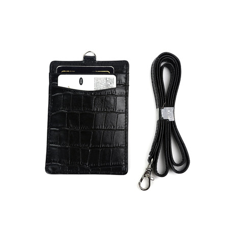 Crocodile Pattern Card Holder with Lanyard (Black)