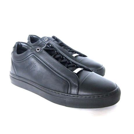Brioni // Crocodile Trim Leather Sneakers // Black (US: 8)
