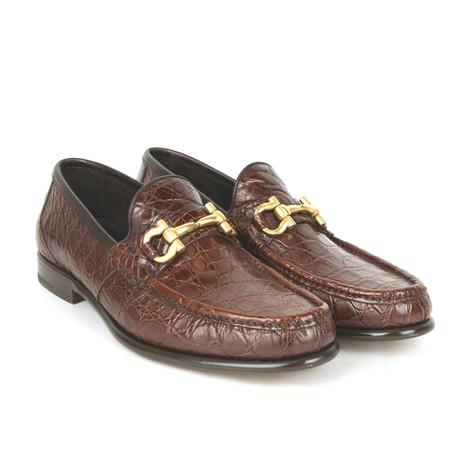 Salvatore Ferragamo // Mason Crocodile Horsebit Loafers // Brown (US: 8)