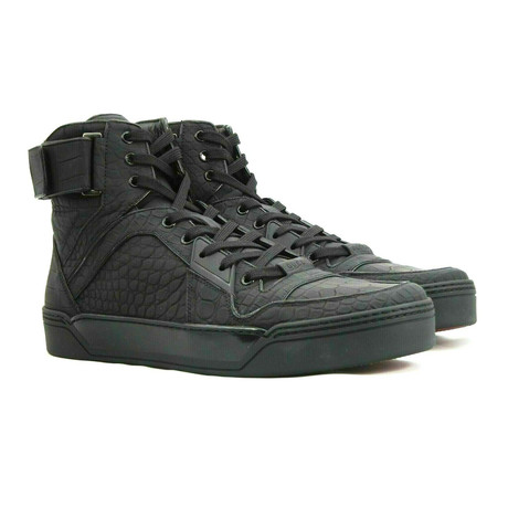 Gucci // Rubberized Crocodile Skin Sneakers // Black (US: 8)