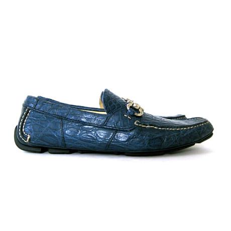 Salvatore Ferragamo // Parigi 3 Crocodile Horsebit Loafers // Blue (US: 8)