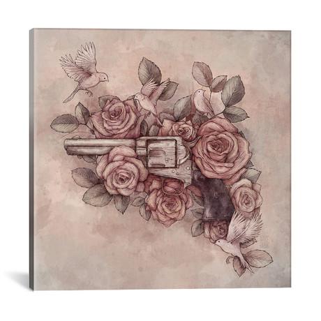 "Guns & Flowers (18""W x 18""H x 0.75""D)"