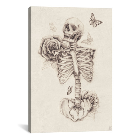 "Skeleton And Roses I (18""W x 26""H x 0.75""D)"
