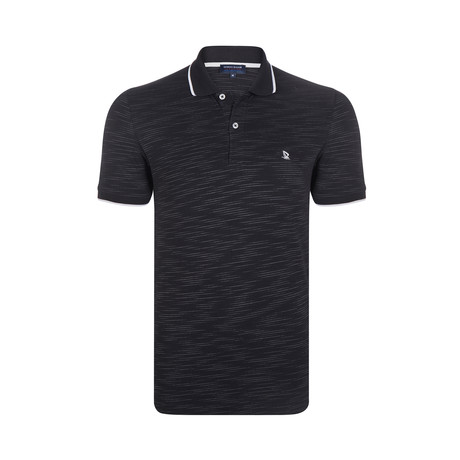 Striped Polo Shirt // Black (S)