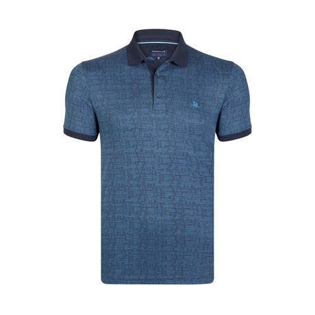 Textured Print Polo Shirt // Navy + Blue (S)