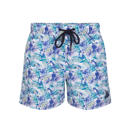 Tropical Tucan Swimsuit // White + Blue (S)