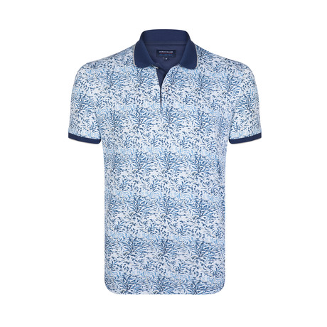 Leaf Print Polo // Blue + White (S)