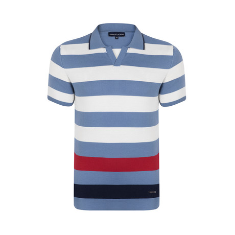 Horizontal Stripes Polo Shirt // Blue + Red + Navy (S)