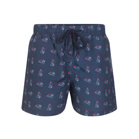 Sailboat Print Swimsuit // Navy (S)