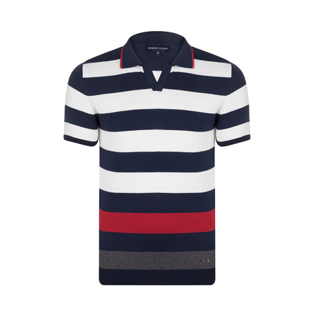 Horizontal Stripes Polo Shirt // Navy + Red + Grey (S)