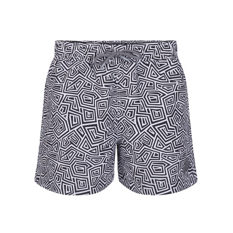 Maze Print Swimsuit // Navy + White (XS)