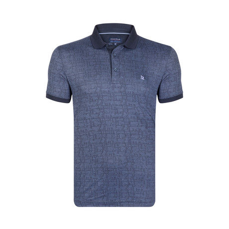 Textured Print Polo Shirt // Navy + Indigo (S)