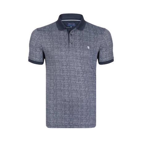 Textured Print Polo Shirt // Navy + White (S)