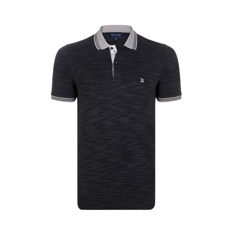 Striped Polo Shirt // Black // Accent Collar (S)