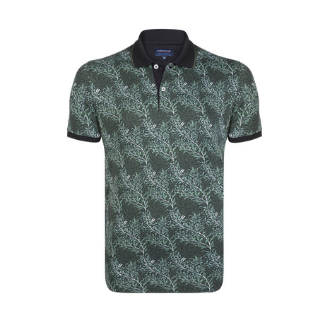 Vine Print Polo Shirt // Green + Black (S)