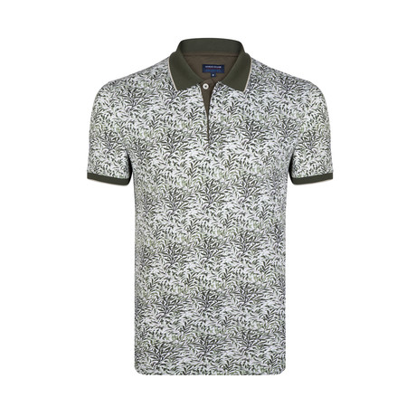 Leaf Print Polo Shirt // Green + White (S)