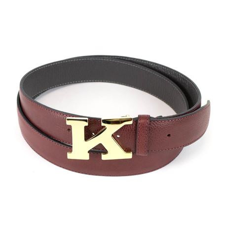 Kiton // Pebbled Leather Gold K Buckle Belt // Brown
