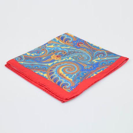 Battisti Napoli // Paisley Pattern Silk Pocket Square // Red + Multicolor