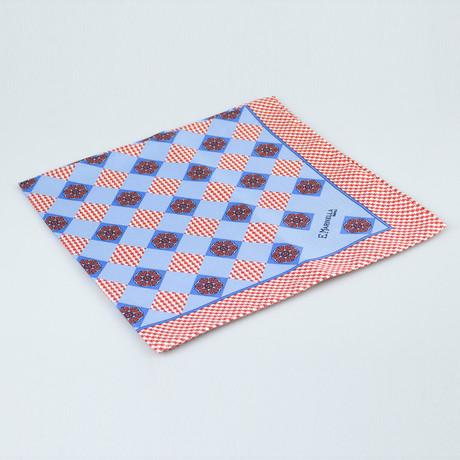 E. Marinella Napoli // Houndstooth Pattern Silk Pocket Square // Red + Blue